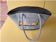 Vietnam Canvas & rattan handbag