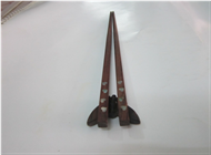 wooden chopsticks with heart MOP inlayed