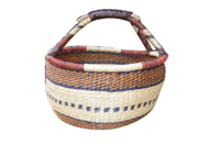 Vietnam Sedge basket with leatherette handles