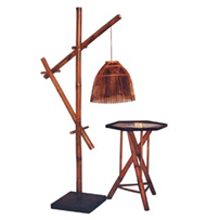 bamboo night-lamp with table