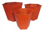 set of 3 bamboo hexagon baskets