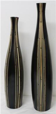 set of 2 vases with incrusted bamboo