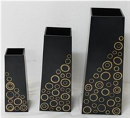 set of 3 vases with incrusted bamboo